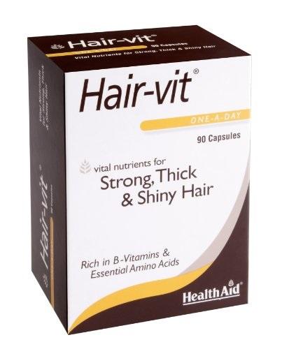 Health Aid Hair-vit Economy Συμπλήρωμα Με Βιταμίνες Μέταλλα Και Αμινοξέα Ιδανικό Για Τα Μαλλιά 90Caps