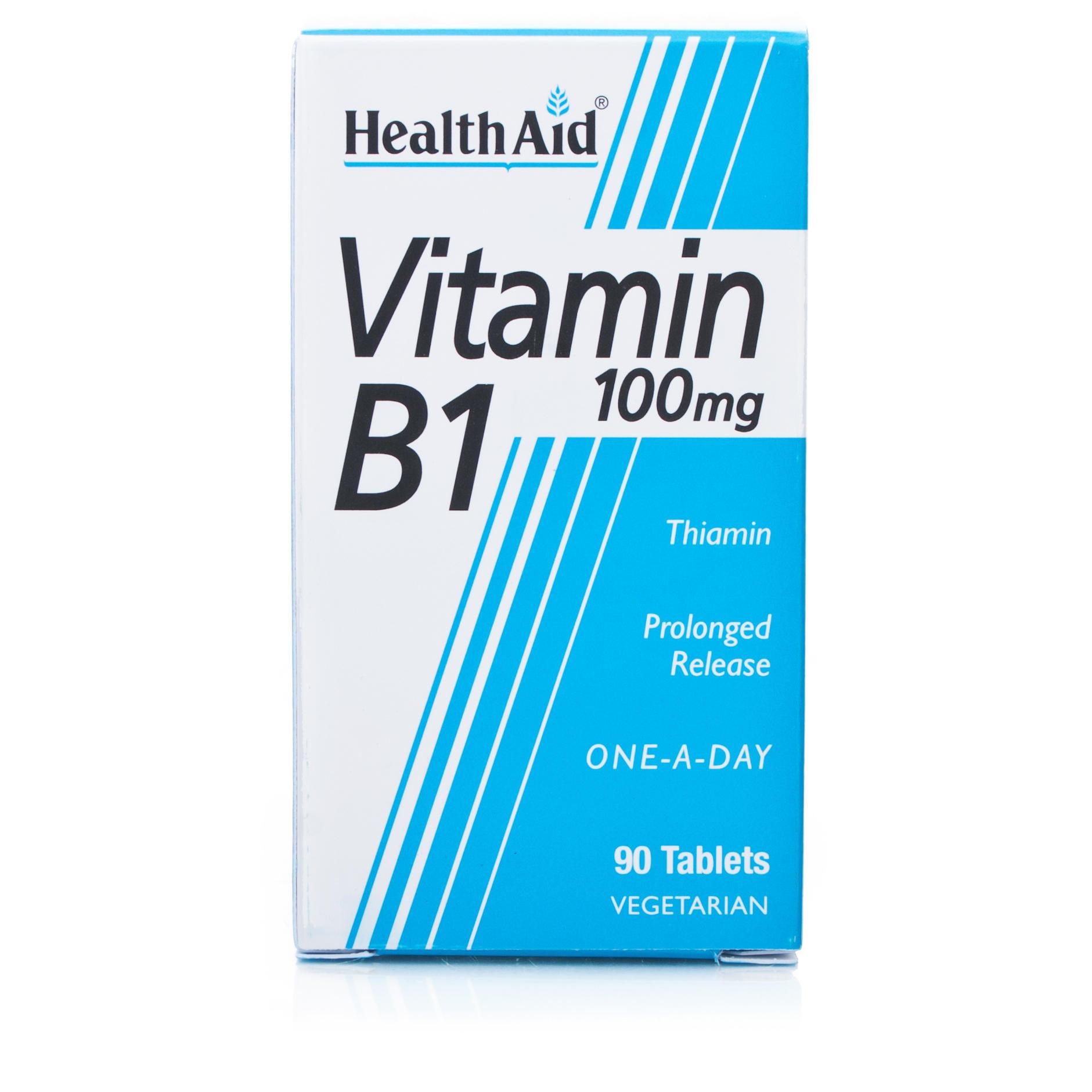 Health Aid Vitamin B1 Thiamin One a Day Bιταμίνη B1 (Θειαμίνη) Η βιταμίνη Του Μυαλού 100mg 90tabs