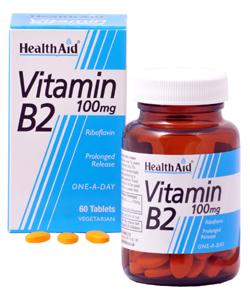 Health Aid Vitamin B2 (Riboflavin) 100mg – Prolonged Release Απαραίτητη Για Το Σχηματισμό Ερυθρών Αιμοσφαιρίων 60 tabs
