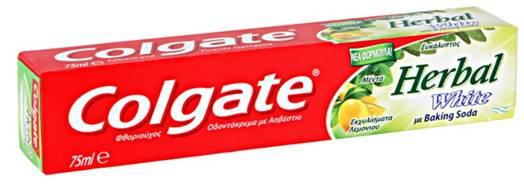 Colgate Herbal White Με Ασβέστιο, Baking Soda, Μέντα, Ευκάλυπτο Και Εκχυλίσματα Λεμονιού 75ml