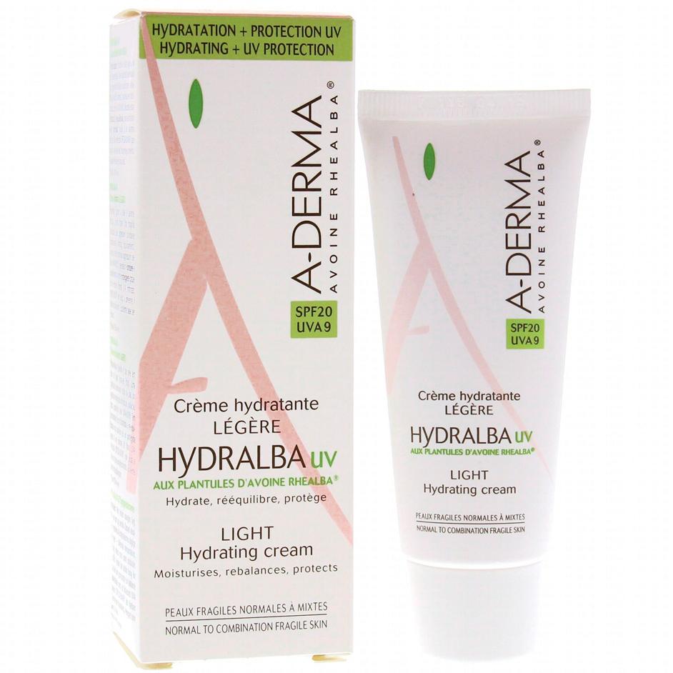 A-Derma Hydralba Hydratante UV Spf20 Legere, Λεπτόρρευστη Ενυδατική Κρέμα 40ml