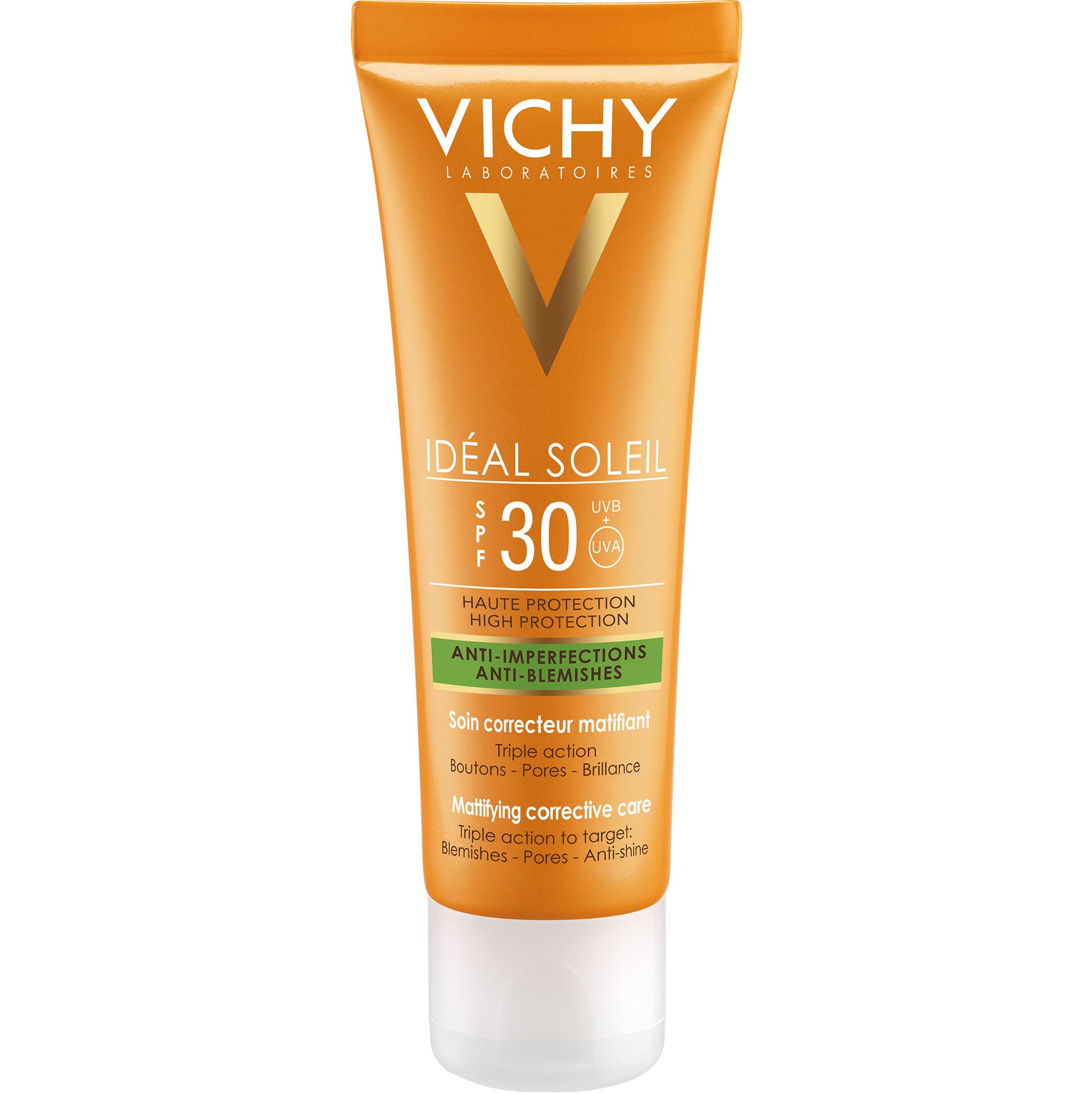 Vichy Ideal Soleil Spf30 Αντηλιακή Κρέμα Προσώπου Υψηλής Προστασίας & Ματ Αποτελέσματος, Σύνθεση Δράσης Κατά των Ατελειών 50ml