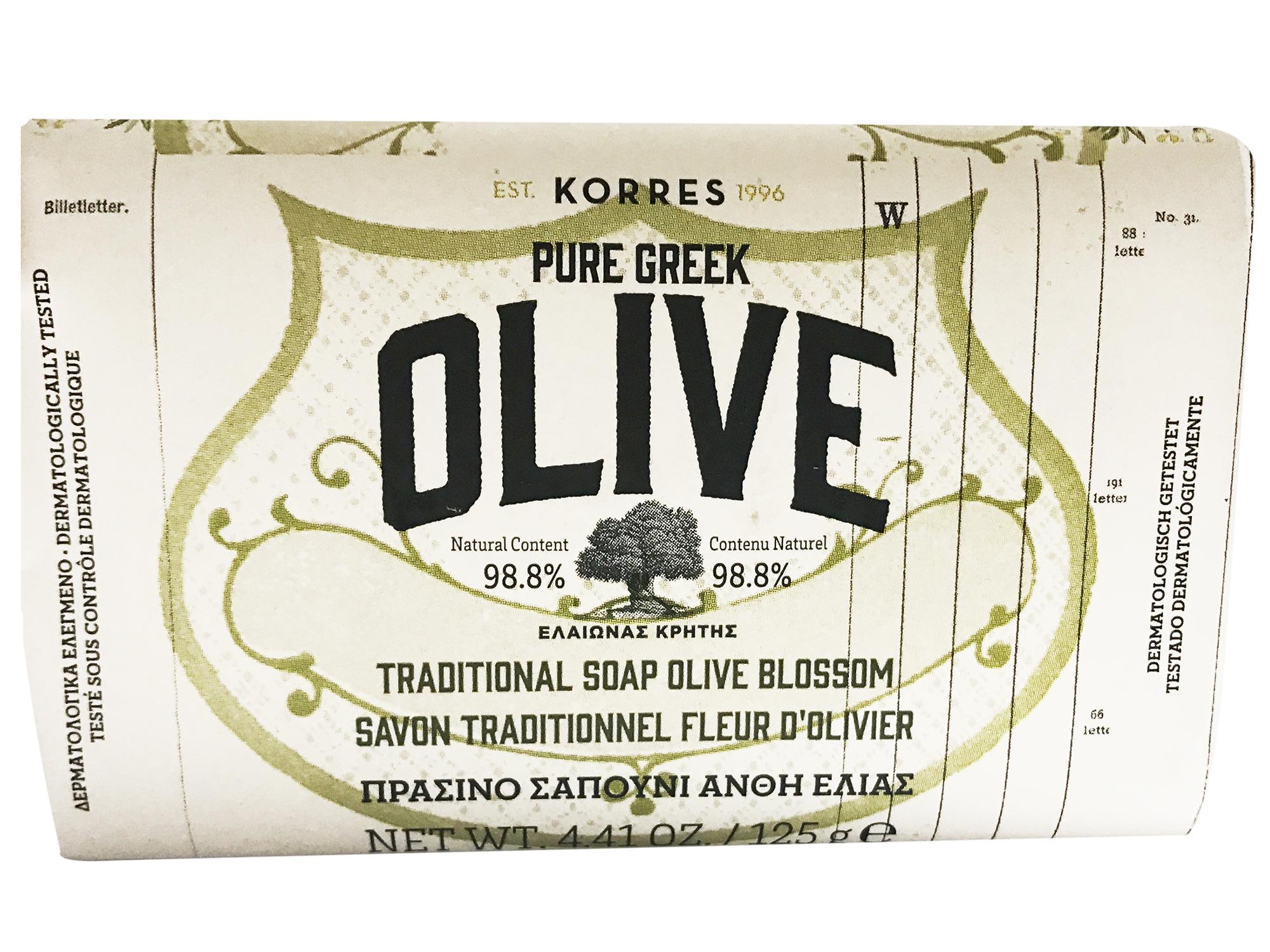 Korres Pure Greek Olive Tradional Soap Olive Blossom Πράσινο Σαπούνι Φυσική Πηγή Βιταμινών & Αντιοξειδωτικών με Άνθη Ελιάς 125gr