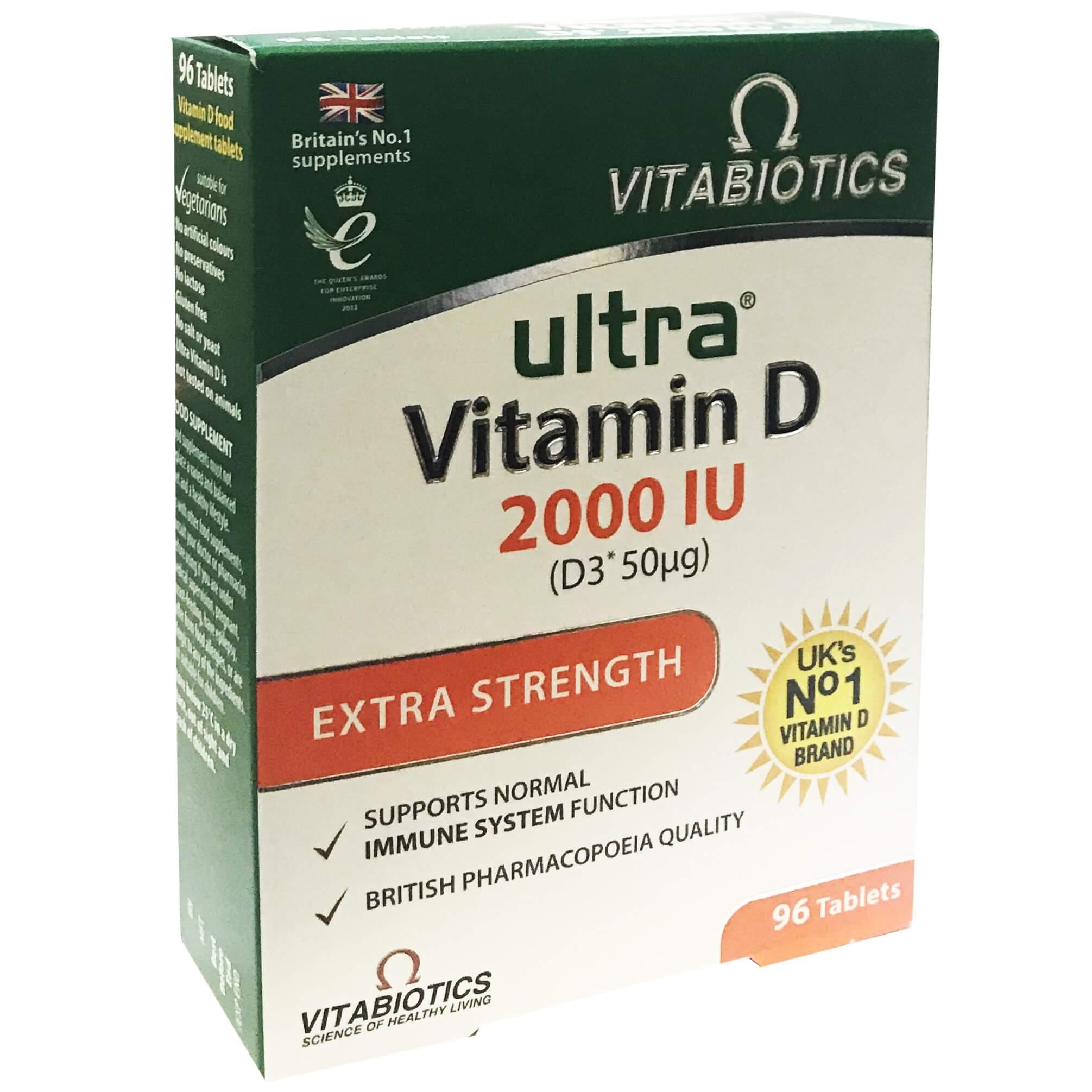 Vitabiotics Ultra Vitamin D 2000IUΣυμπλήρωμα Διατροφής Βιταμίνης D για Καλή Υγεία Οστών, Μυών & Ανοσοποιητικού 96Tabs