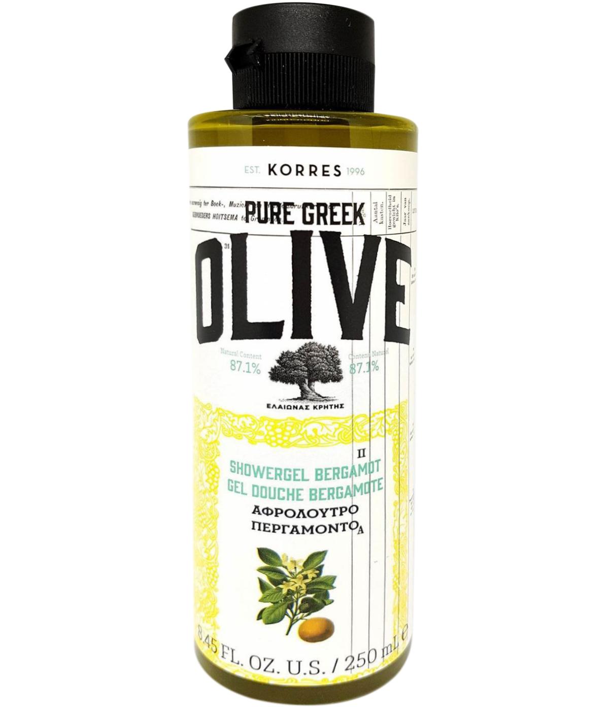 Korres Pure Greek Olive Shower Gel Bergamot Αφρόλουτρο με Τονωτικό Εκχύλισμα Φύλλων Ελιάς & Άρωμα Περγαμόντο 250ml