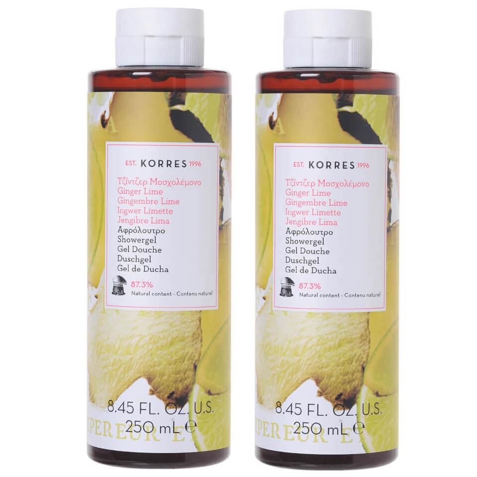 Korres Πακέτο Προσφοράς Shower Gel Ginger Lime Αφρόλουτρο, Φρέσκο Άρωμα Μοσχολέμονο & Νότες Πικάντικου Τζίντζερ 2x250ml 1+1 Δώρο