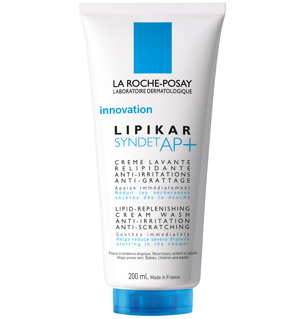 La Roche-Posay Lipikar Syndet AP+ Κρέμα Καθαρισμού για Αναπλήρωση των Λιπιδίων, Κατά των Ερεθισμών & του Κνησμού, Χωρίς Σαπούνι – 200ml