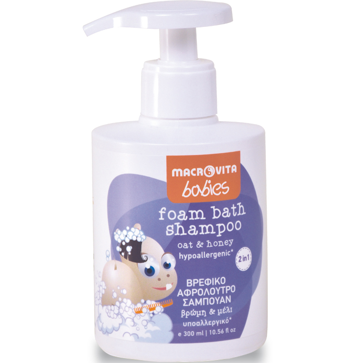 Macrovita Babies Foam Bath Shampoo Βρεφικό Αφρόλουτρο – Σαμπουάν 2 σε 1 με Βρώμη & Μέλι από 0-36 Μηνών 300ml