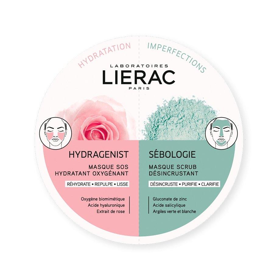 Lierac Duo Masks Hydragenist Masque SOS Hydratant Oxygenant & Sebologie Masque Scrub Desincrustant 2x6ml