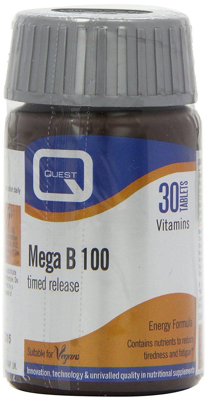 Quest Mega B 100 Timed Release Συμπλήρωμα Διατροφής Βραδείας Αποδέσμευσης για την Υγεία του Νευρικού Συστήματος 30tabs