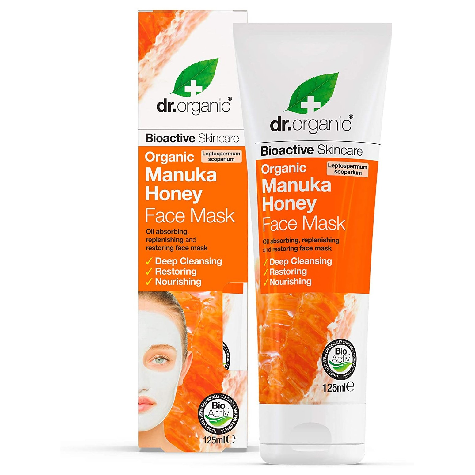 Dr.Organic Manuka Honey Face Mask Μάσκα Προσώπου με Βιολογικό Μέλι Μανούκα για Βαθύ Καθαρισμό & Θρέψη 125ml