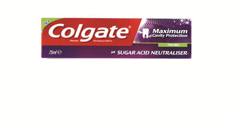 Colgate Maximum Cavity Protection Οδοντόκρεμα Που Καταπολεμά Τα Οξέα Από Τα Σάκχαρα Στην Πλάκα 75ml