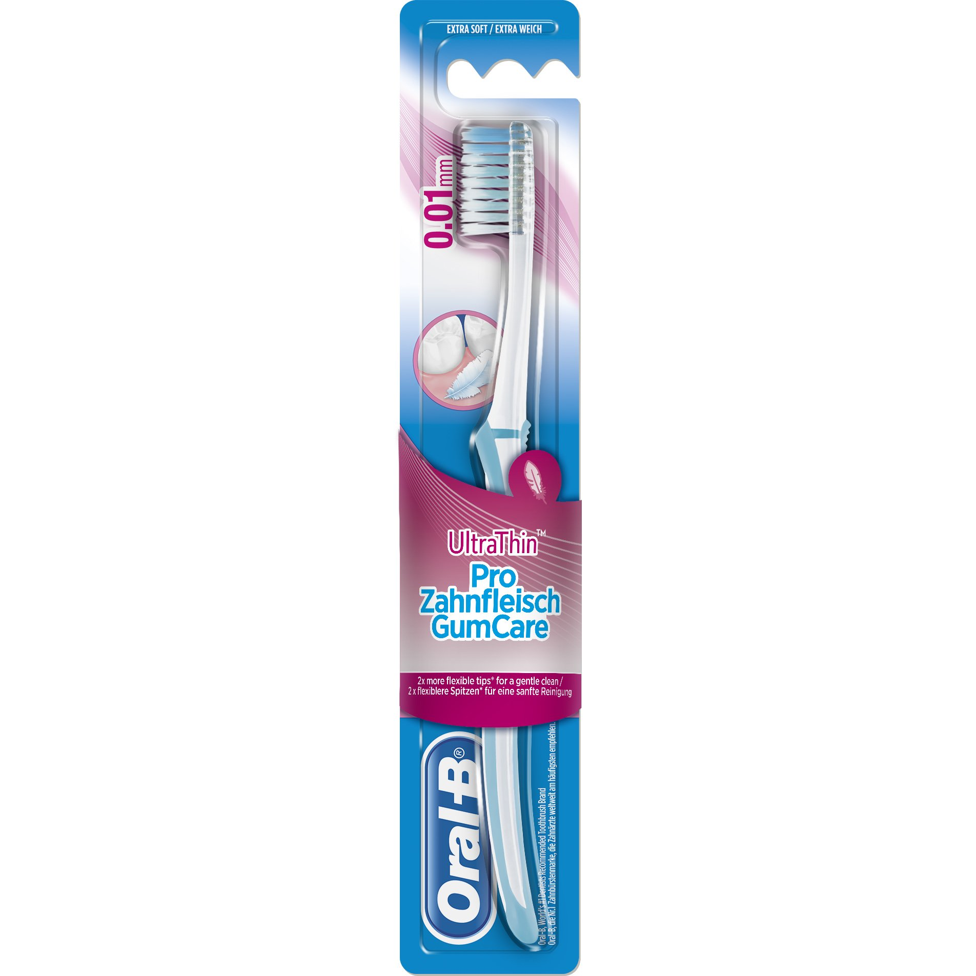 Oral B UltraThin Pro GumCare 0.01mm Extra Soft Πολύ Μαλακή Οδοντόβουρτσα με 2x πιο Εύκαμπτες Άκρες για Έναν Απαλό Καθαρισμό 1τμχ