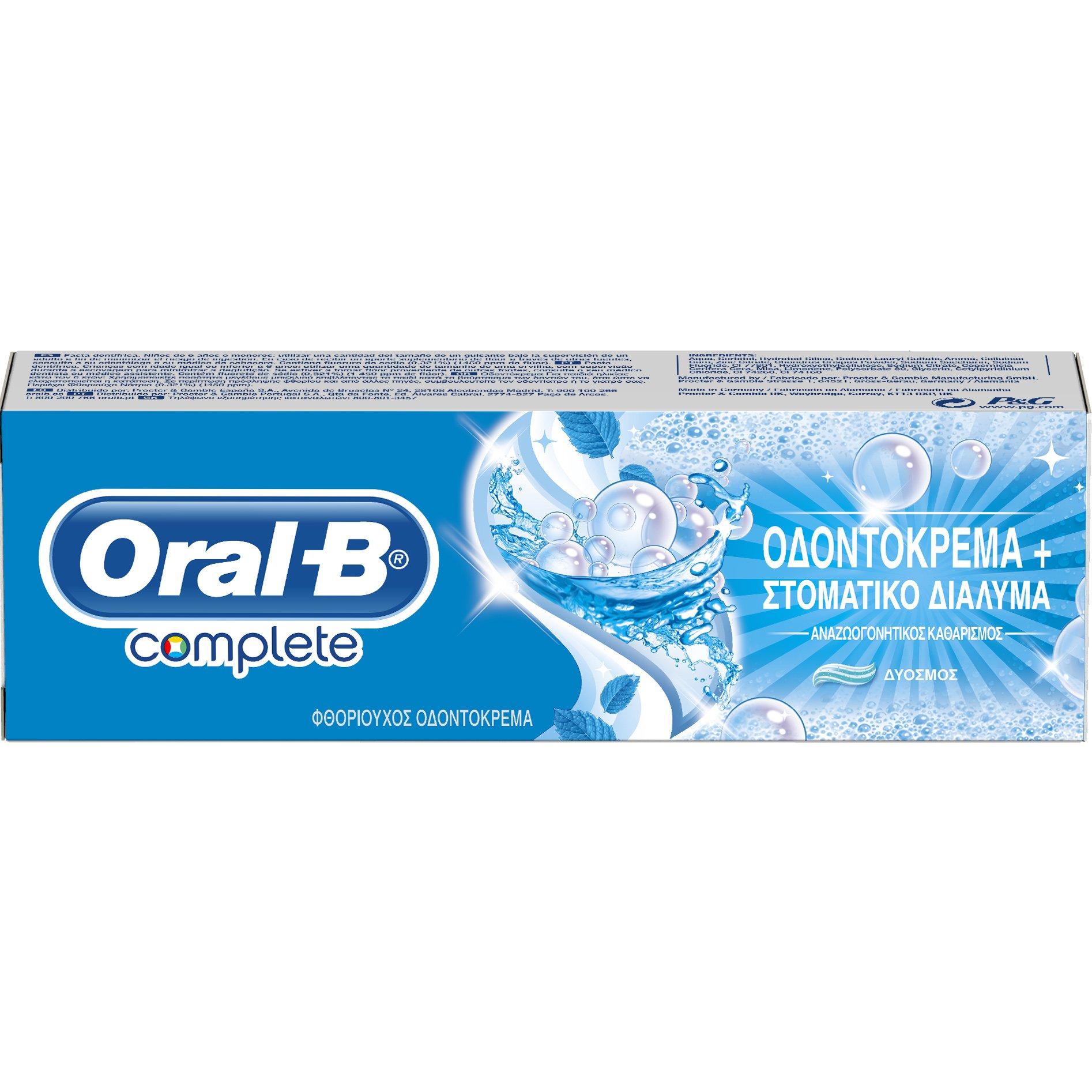 Oral-B Complete Mouth Wash & Whitening Extra Fresh Οδοντόκρεμα για Λεύκανση & Στοματικό Διάλυμα Μαζί 75ml