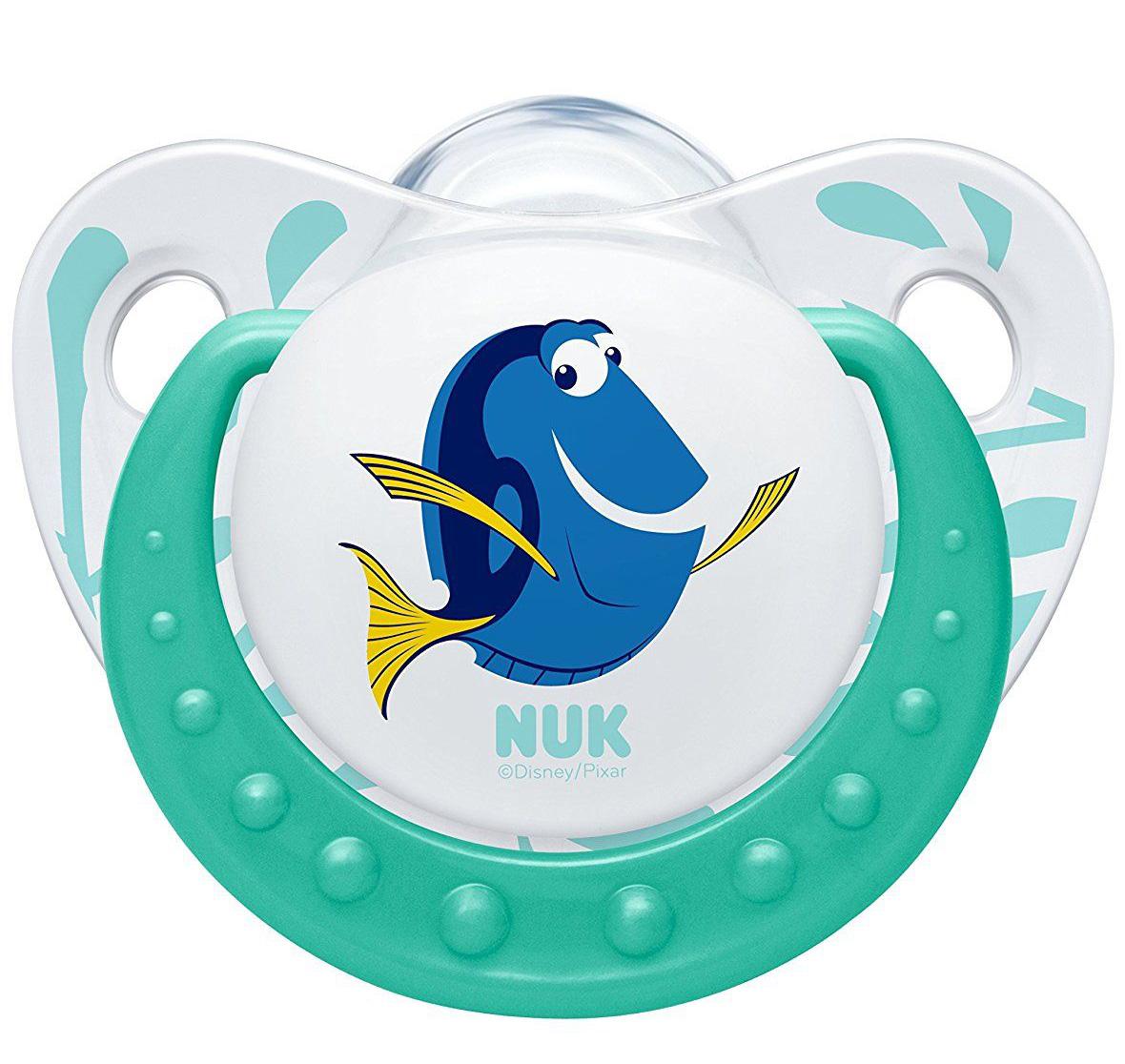 Nuk Trendline Finding Dory Πιπίλα Σιλικόνης με Κρίκο Χωρίς BPA Πράσινο – Μέγεθος 1 (0-6 μηνών)