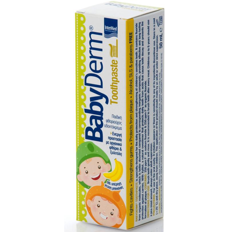 Intermed BabyDerm Toothpaste Παιδική Φθοριούχος Οδοντόκρεμα με Γεύση Μπανάνα 50ml