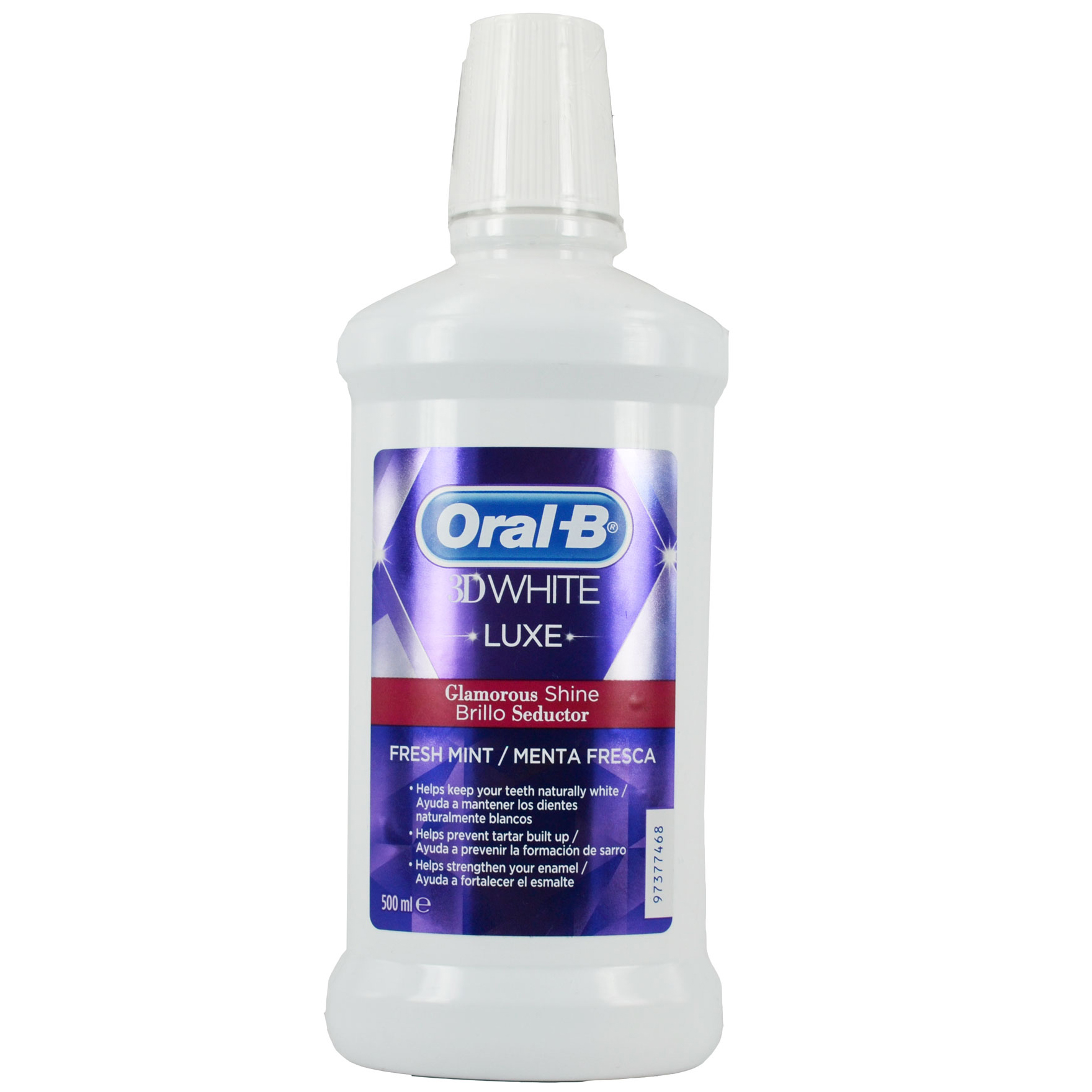 Oral-B 3D White Luxe Glamorous Shine Στοματικό Διάλυμα για Λευκά Δόντια με Άρωμα Μέντας 500ml