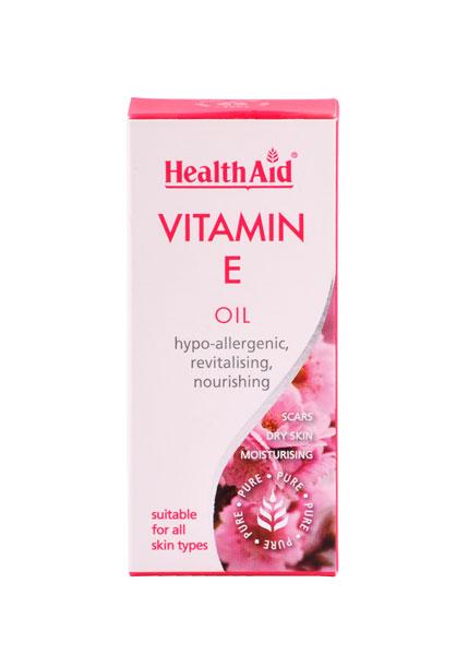 Health Aid Skin Vitamin E Oil (100% Pure) Υπο Αλλεργικό, Επανορθωτικό Αγνό Λάδι Προσώπου Σώματος 50ml