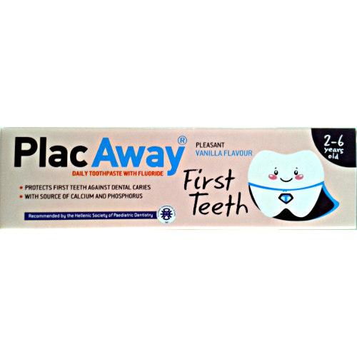 Plac Away First Teeth Παιδική Οδοντόκρεμα Προστατεύει τα Πρώτα Δοντάκια από την Τερηδόνα απο 2 εώς 6 Ετών 50ml