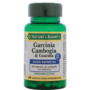 Natures Bounty Garcinia Cambogia & GuaranaΣυμπλήρωμα Διατροφής για τη Διατήρηση της Γραμμής του Σώματος100mg 60caps