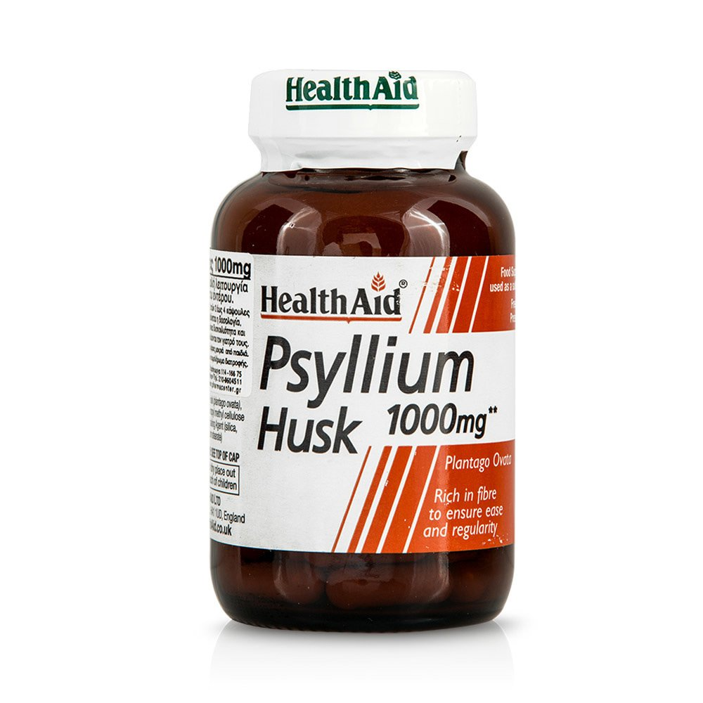 Health Aid Psyllium Husk 1000mg Έλεγχο του Βάρους της Χοληστερόλης και Γενικά στην Υγεία του Εντέρου 60 Caps