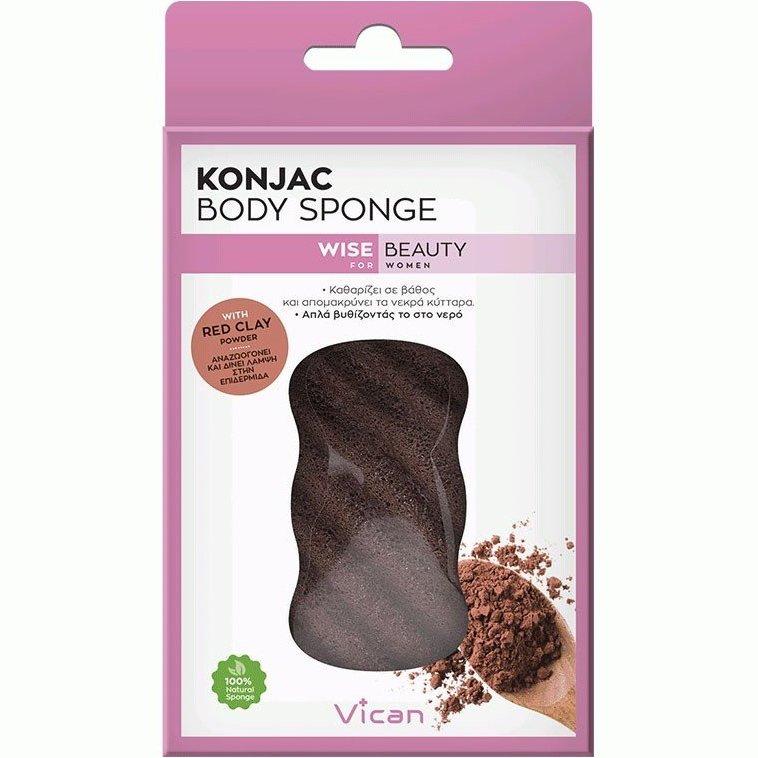 Vican Konjac Body Sponge Wise Beauty Σφουγγάρι Σώματος με Σκόνη Κόκκινης Αργίλουγια Αναζωογόνηση & Λάμψη στο Δέρμα 1 Τεμάχιο