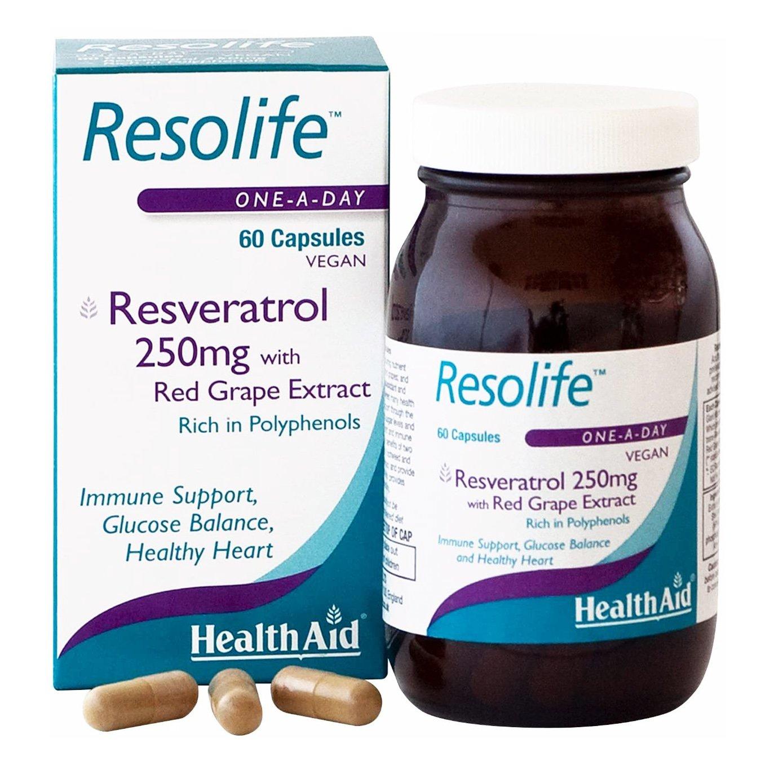 Health Aid Resolife – Ρεσβερατρόλη Αντιοξειδωτική και Αντιφλεγμονώδη Δράση 250mg 60tabs