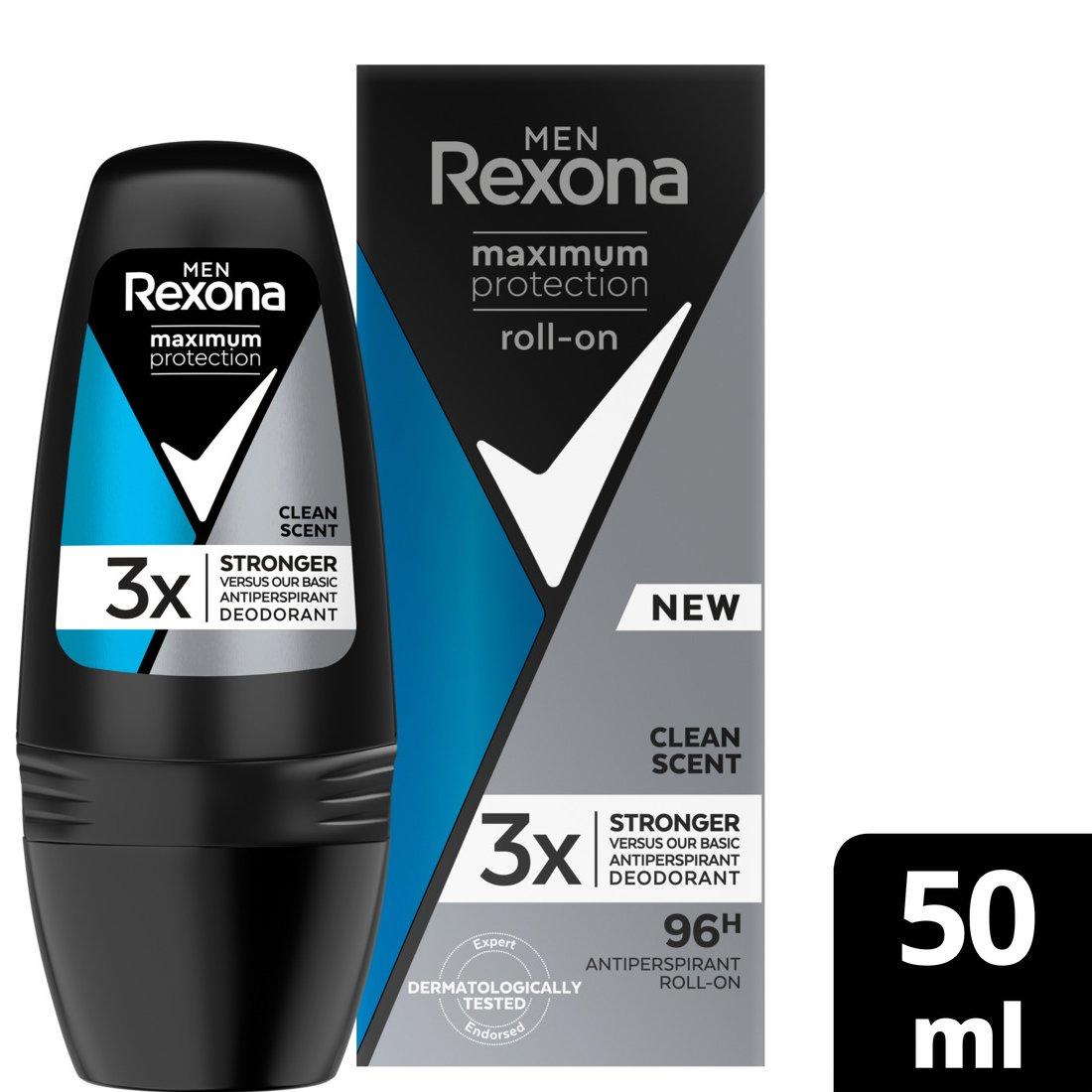 Rexona Men Maximum Protection Roll – On Clean Scent 96h Αντιιδρωτικό με Αποτέλεσματικότητα Έως και 96 Ώρες 50ml