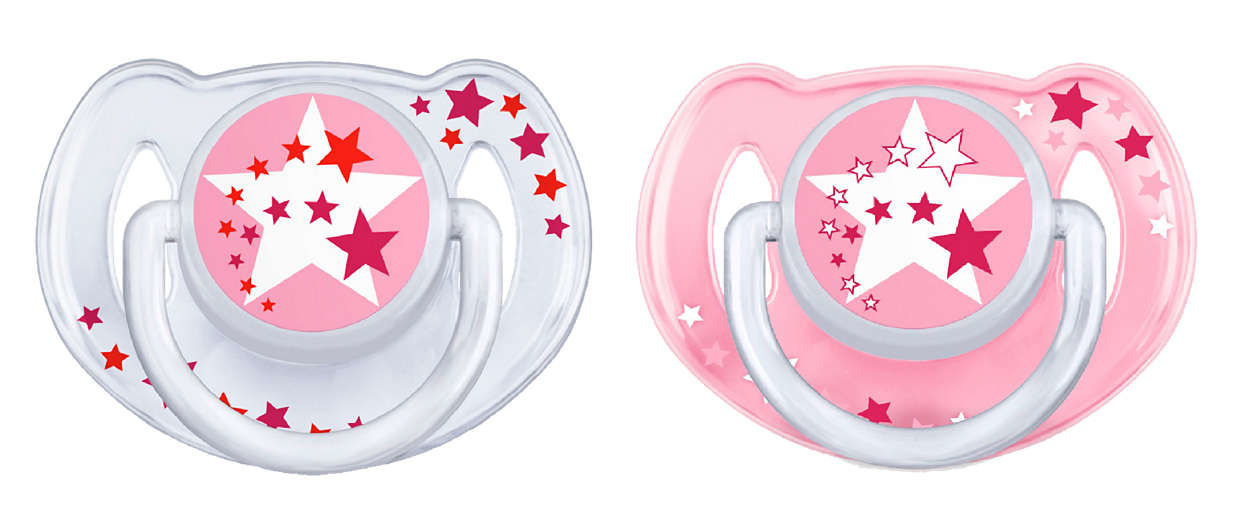 Avent Νυχτερινή Ορθοδοντική Πιπίλα Σιλικόνης 6-18 Μηνών Ροζ / Διάφανο 2τεμάχια S μητέρα παιδί   αξεσουάρ και παιχνίδια   πιπίλες σιλικόνης