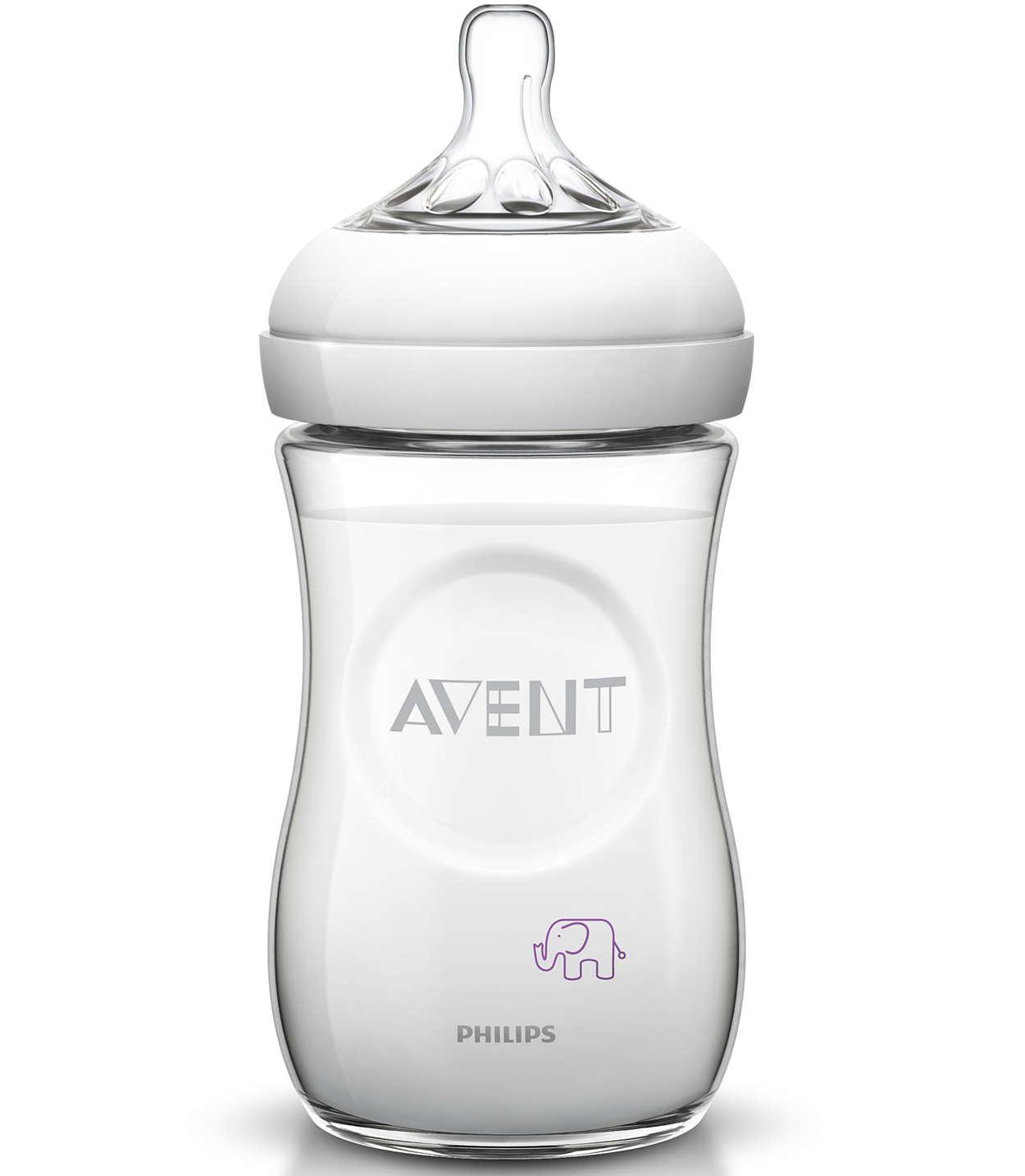 Avent Natural Μπιμπερό Πλαστικό Χωρίς BPA Σχέδιο Μώβ 1m+ 260ml SCF628/17