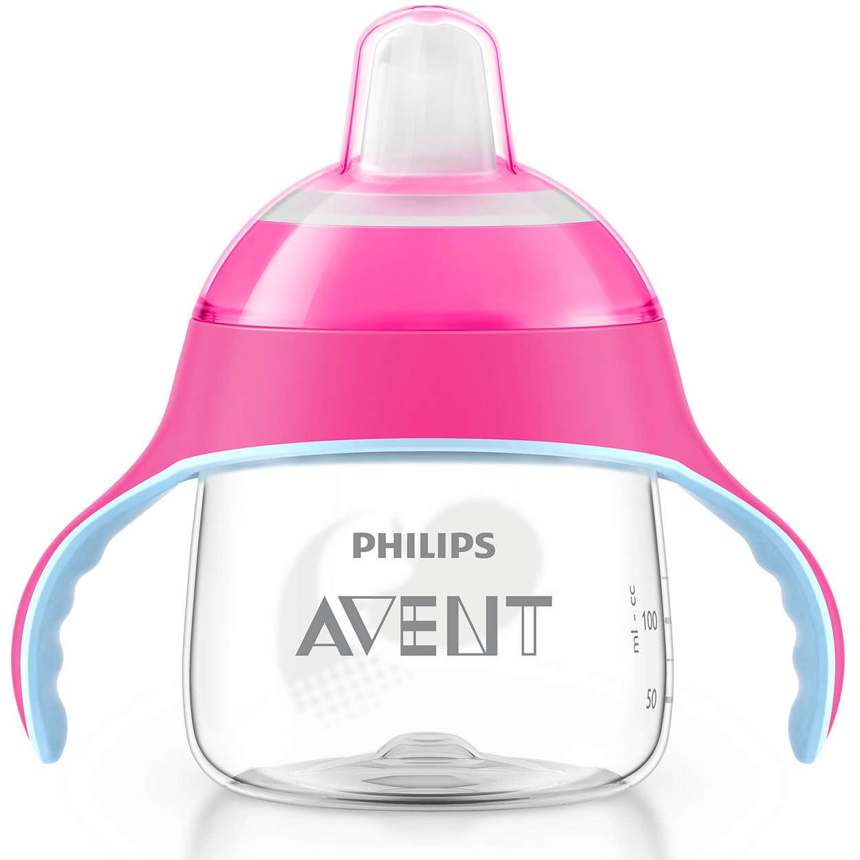 Avent Κύπελλο με Λαβές και Στόμιο Πλαστικό απο 6 Μηνών+ 200ml 1τεμάχιο – ροζ