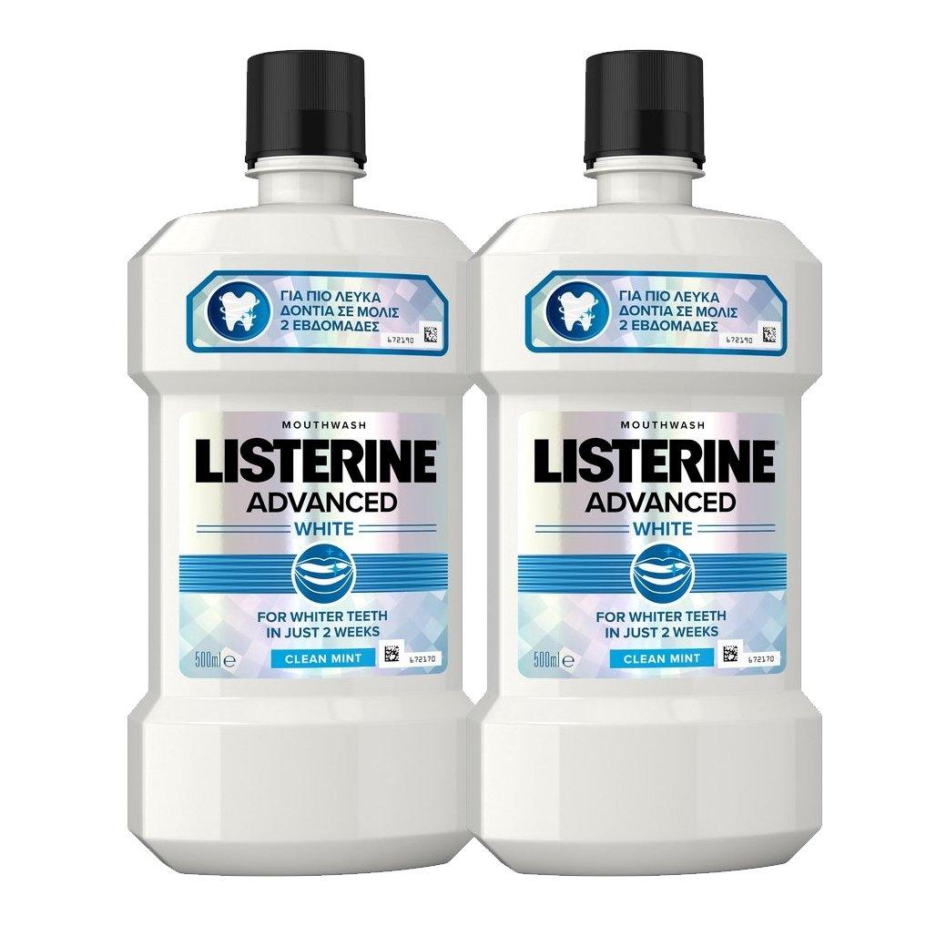 Listerine Πακέτο Προσφοράς Advanced White Στοματικό Διάλυμα Πολλαπλής Προστασίας για πιο Λευκά Δόντια 2x500ml
