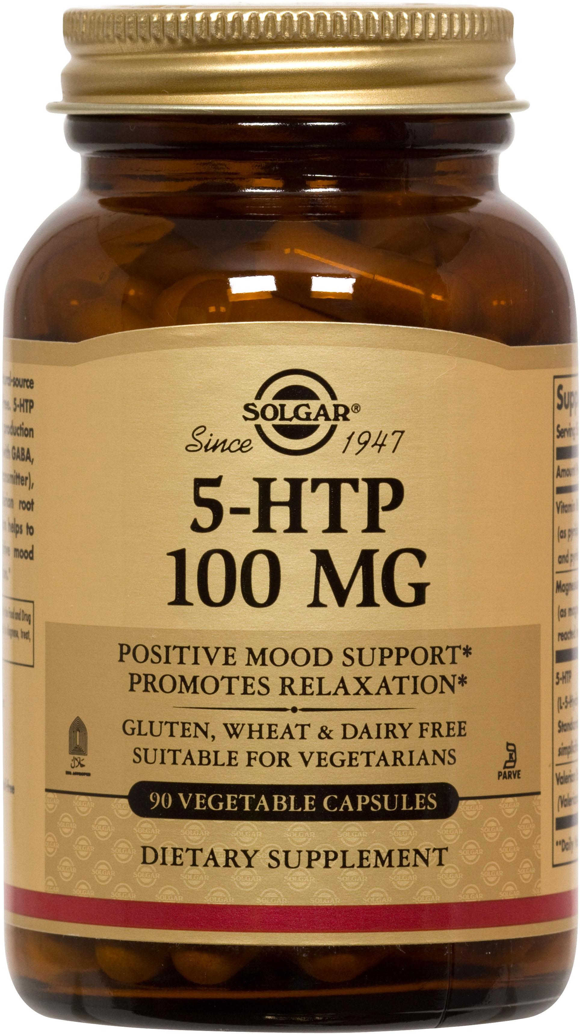 Solgar 5-HTP (5-Υδροξυ-Τρυπτοφανη) 100mg Συμπλήρωμα Διατροφής Απαραίτητο για την Καλή Υγεία του Εγκεφάλου veg.caps – 90 caps