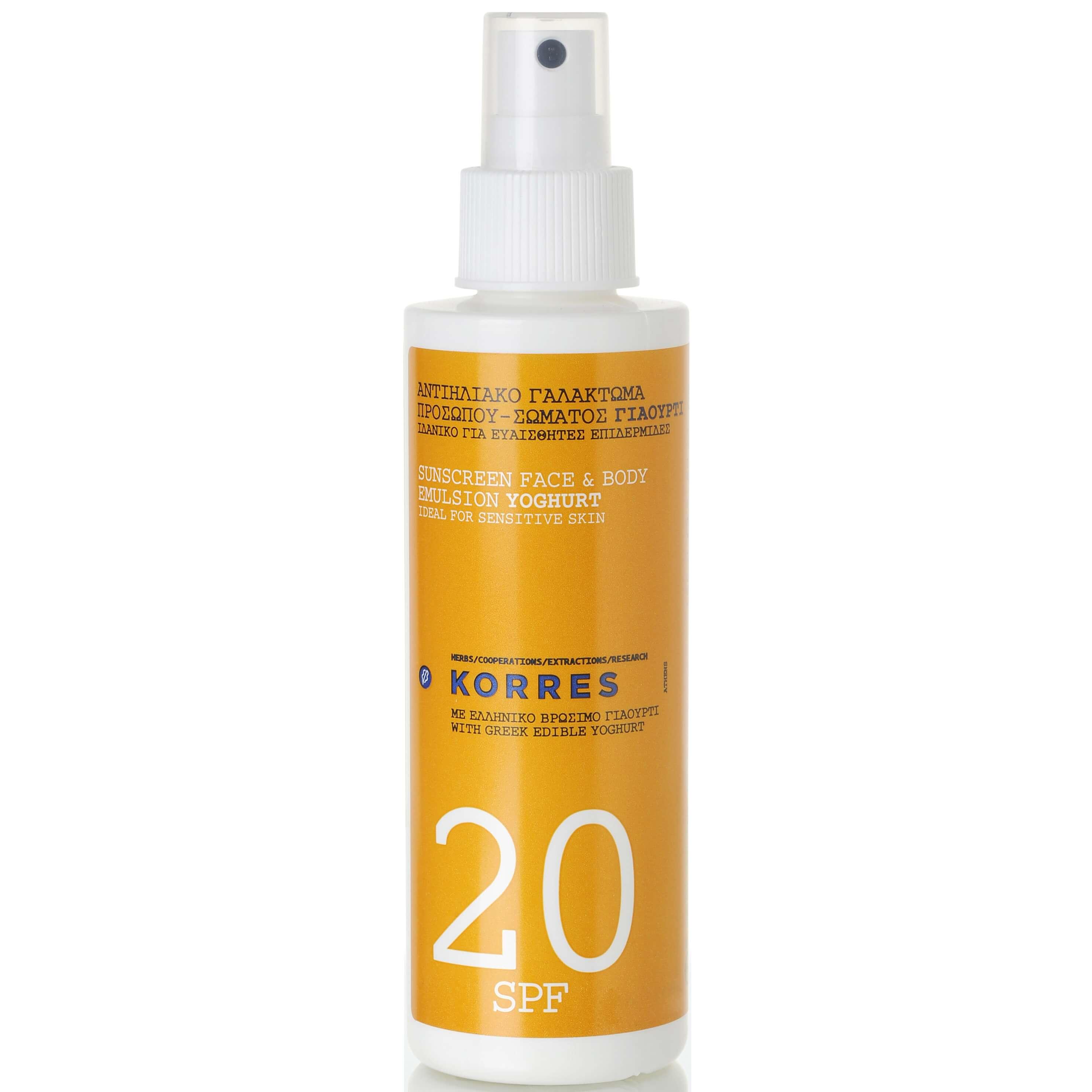 Korres Αντηλιακό Γαλάκτωμα Spray Προσώπου-Σώματος Γιαούρτι Spf20 150ml