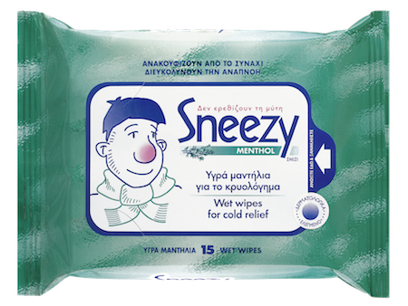 Sneezy Menthol 15 Wet Wipes For Cold Relief