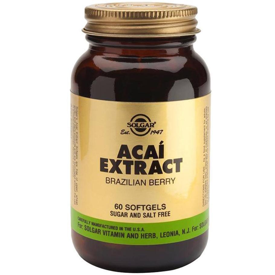 Solgar Acai Extract Συμπλήρωμα Διατροφής με Αντιοξειδωτική & Αντιφλεγμονώδη Δράση 60softgels 1075
