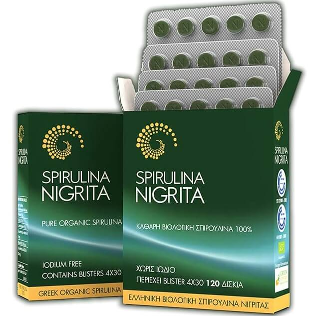 Spirulina Nigrita Βιολογική Καθαρή 100% Σπιρουλίνα Νιγρίτας 120 Δισκία