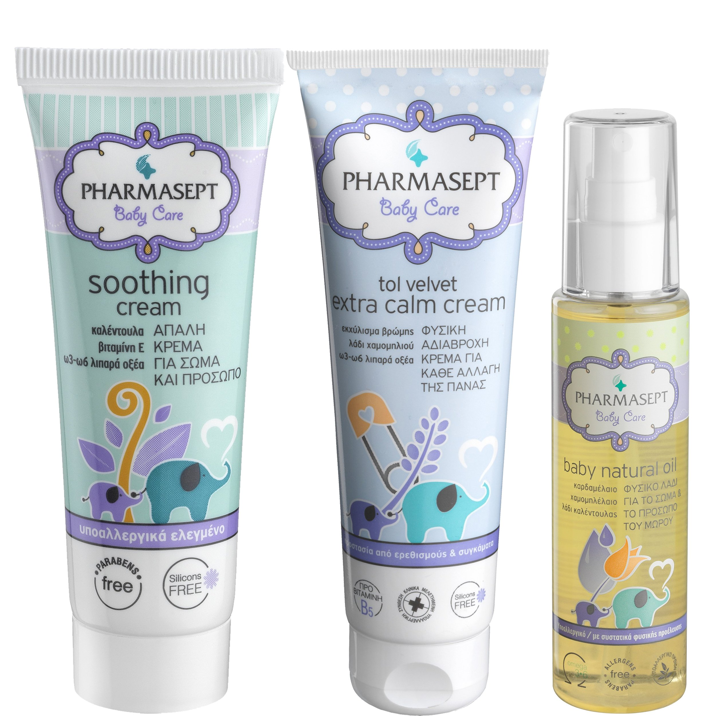 Pharmasept Πακέτο Προσφοράς Tol Velvet Baby Soothing Cream 150ml & Baby Extra Calm Cream 150ml & Baby Natural Oil 100ml