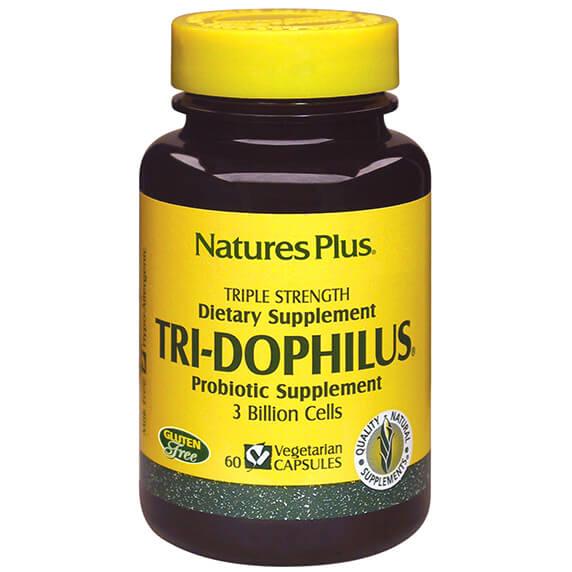 Natures Plus Tri-Dophilus Συμπλήρωμα Διατροφής που Εξασφαλίζει μια Υγιή Εντερική Χλωρίδα 60Veg.Caps