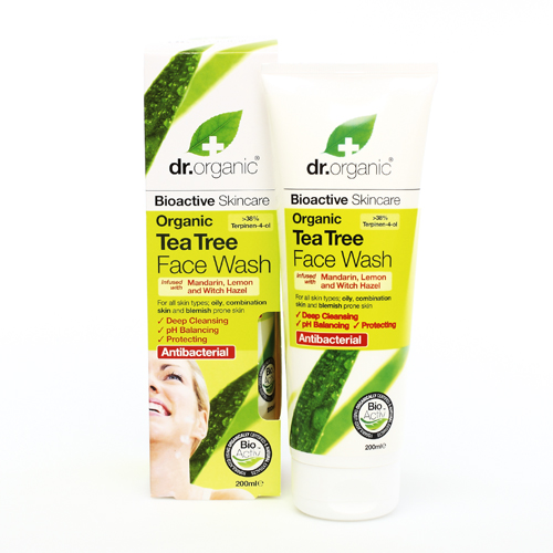 Dr Organic Tea Tree Face Wash ζελ Καθαρισμού για το Πρόσωπο με Βιολογικό Τεϊόδεντρο 200ml