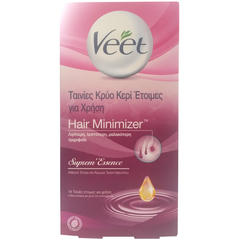 Veet Hair Minimizer Ταινίες Κρύο Κερί Ετοιμες για Χρήση 18τμχ & 4 Μαντηλάκια υγιεινή   σώμα   αποτρίχωση   ξύρισμα