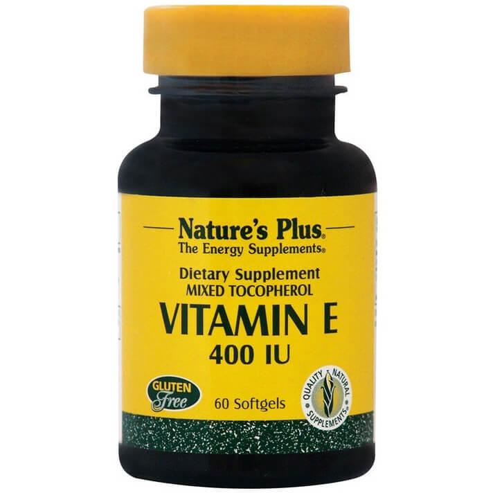 Natures Plus Vitamin E 400IU Συμπλήρωμα Διατροφής Φυσικής Πηγής Βιταμίνης Ε, Αντιοξειδωτική Δράση & Προστασία Μυών 60Softgels