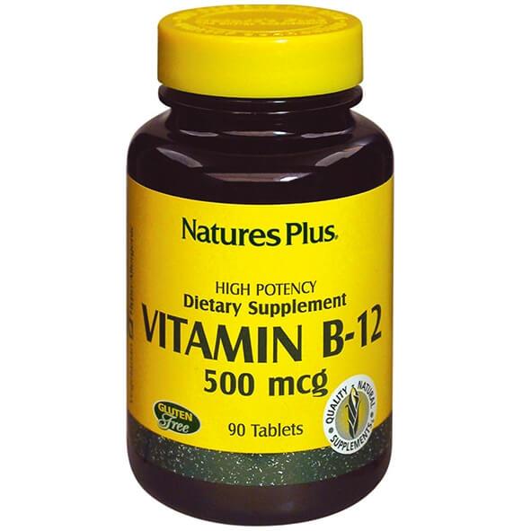 Natures Plus Vitamin B-12 500mcg Για την Τόνωση του Νευρικού Συστήματος 90tabs