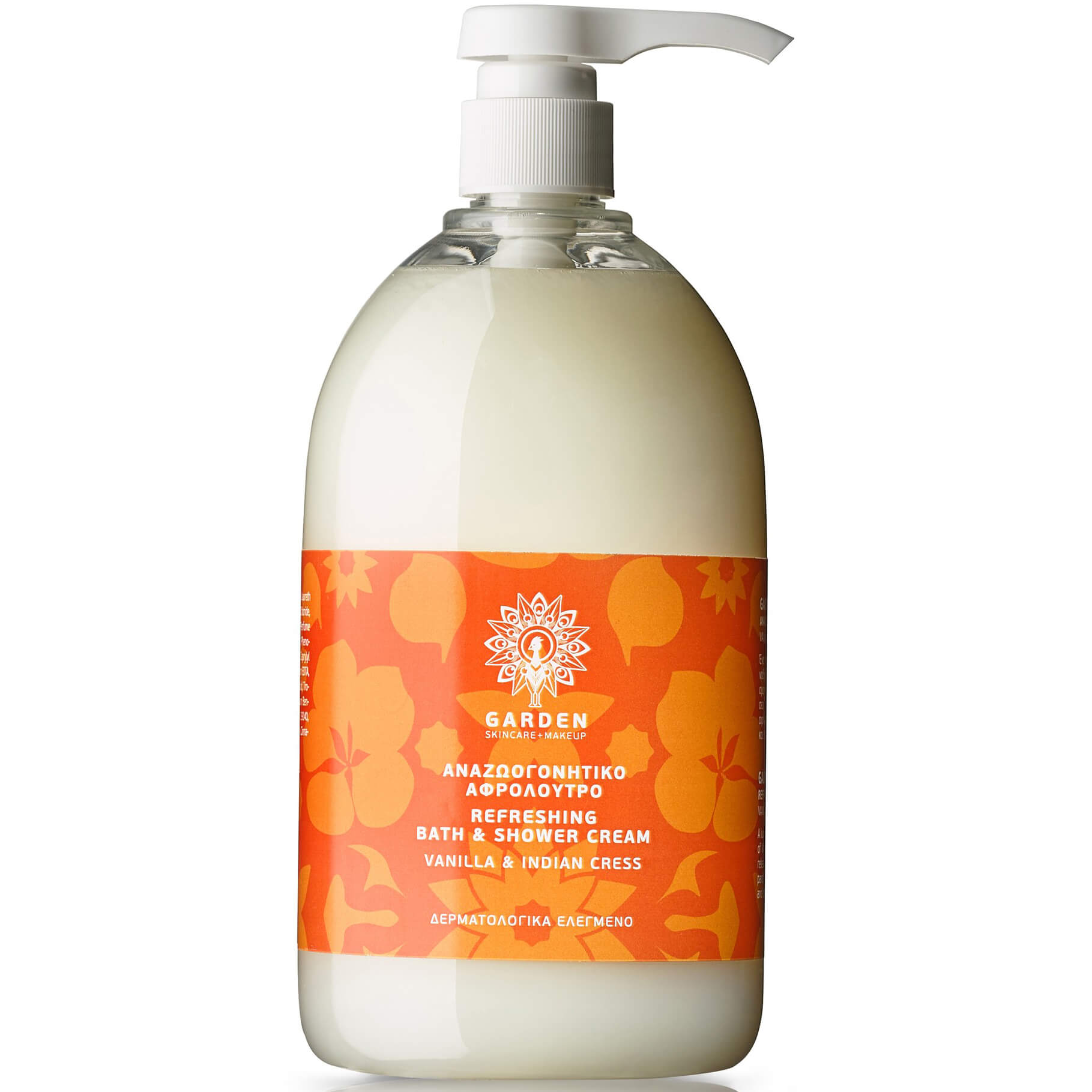 Garden of Panthenols Refreshing Bath & Shower Cream Vanilla & Indian Cress Αναζωογονητικό Αφρόλουτρο 1Lt