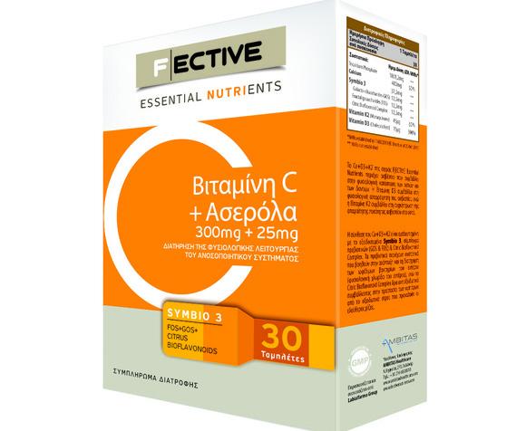Fective Vitamin C+Acerola Βιταμίνη C Και Ασερολα Για Την Ενίσχυση Του Ανοσοποιητικού 300mg+25mg 30tabs