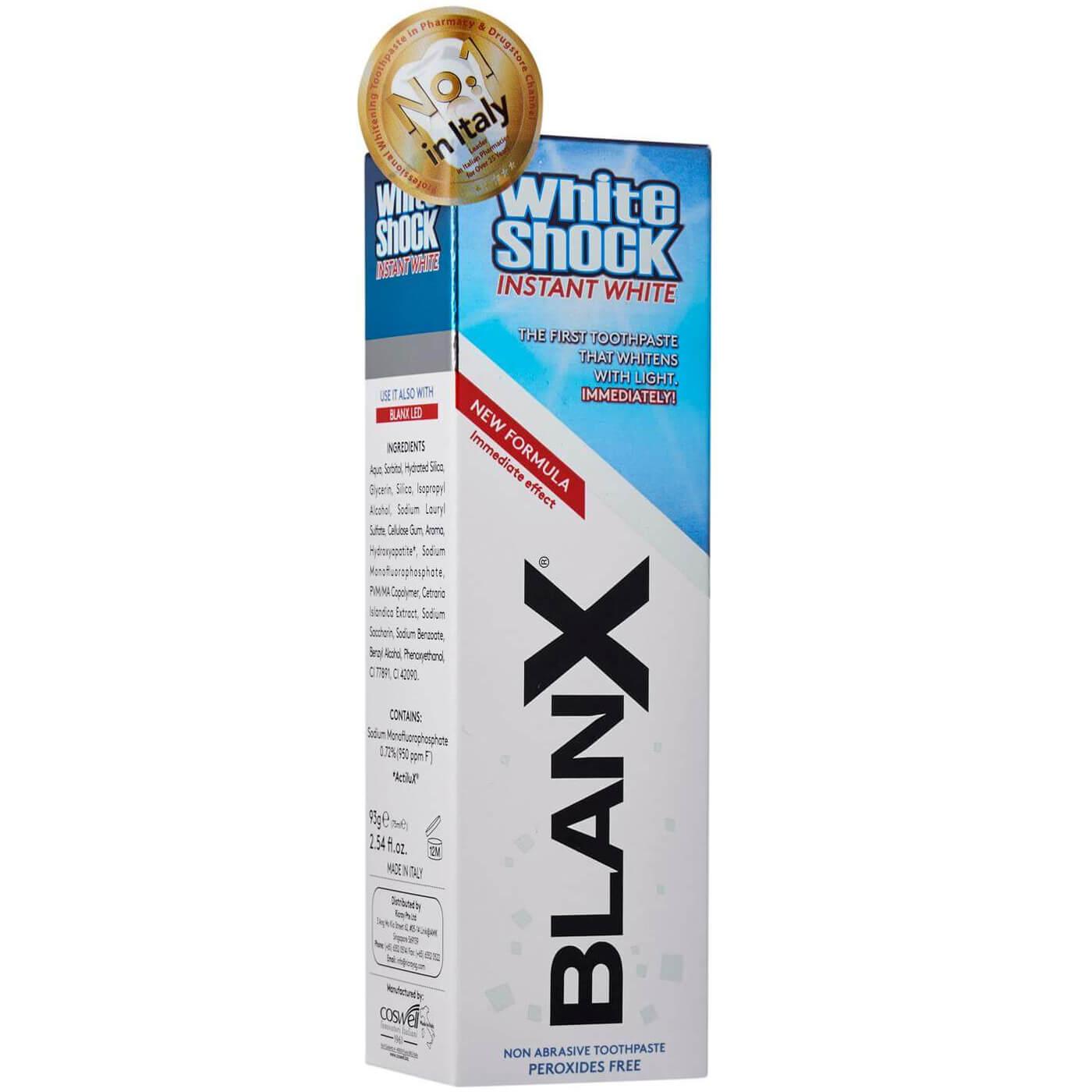 BLANX White Shock Instant White Toothpaste Λευκαντική Οδοντόκρεμα Ταχείας Δράσης 75ml