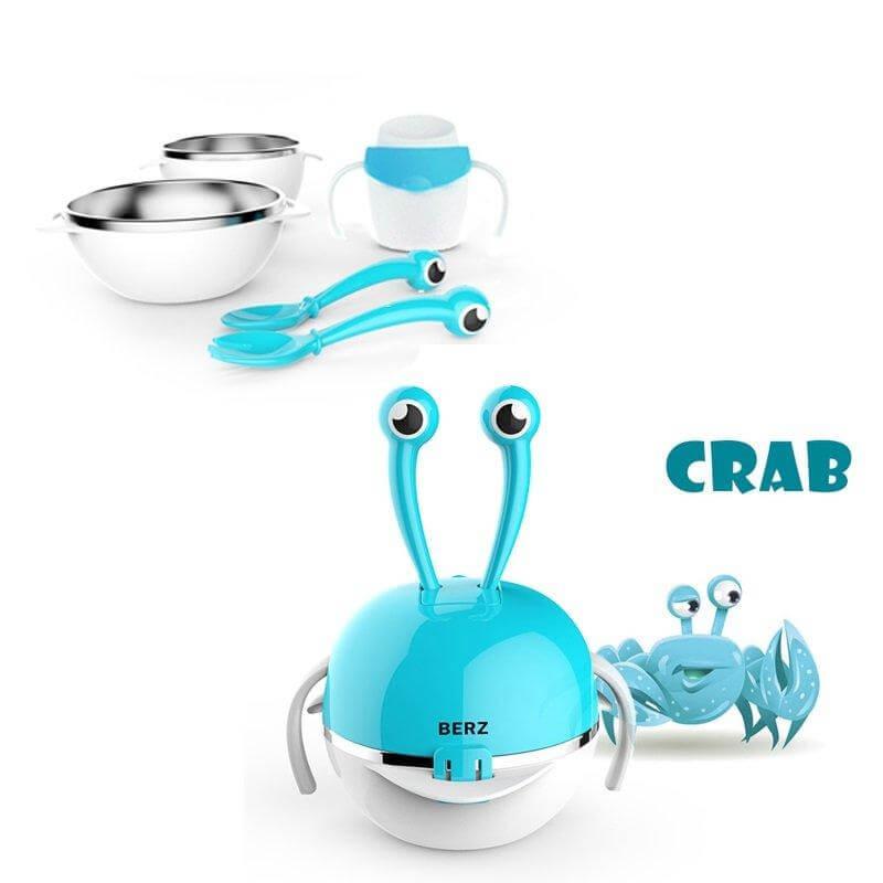 Berz Baby 3m+ Dinnerware Crab 5-in-1Βρεφικό Σετ Φαγητού σε Διάφορα Χρώματα - μπ μητέρα παιδί   αξεσουάρ και παιχνίδια   βρεφικά   παιδικά σετάκια φαγητού