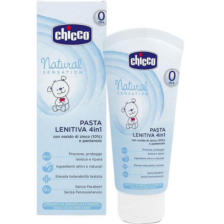 Chicco Natural Sensation Nappy Cream 4in1 Βρεφική Κρέμα Συγκάματος με Οξείδιο Ψευδαργύρου & Πανθενόλη 100ml