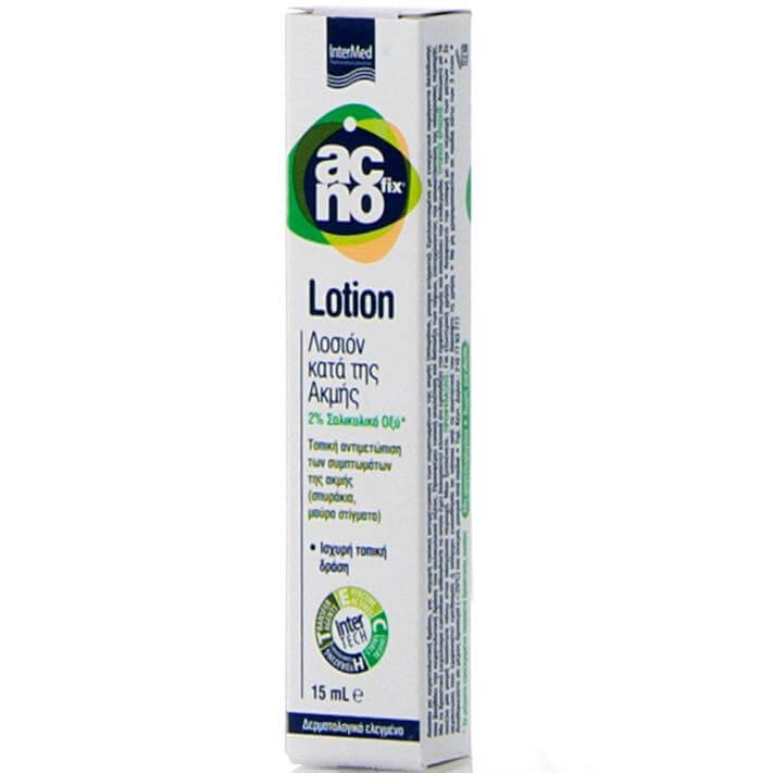 Intermed Acnofix Anti Acne Lotion Λοσιόν Τοπικής Αντιμετώπισης των Συμπτωμάτων της Ακμής (Σπυράκια, Μαύρα Στίγματα) 15ml