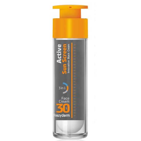 Frezyderm Active Sun Screen Face Cream Spf30, Ενεργή Αντηλιακή Κρέμα Προσώπου Υψηλής Προστασίας με Ειδική Μαύρη Χρώση 50ml